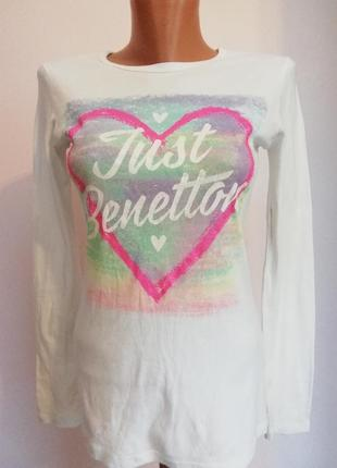 Итальянская белая базовая футболка /s-m - м/brend benetton