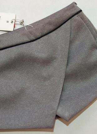 Серые стильные плотные шорты-юбка nik&nik р. 146-152