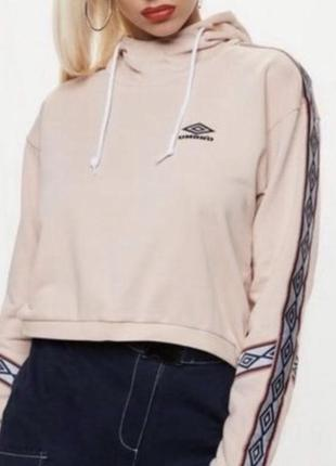 Худи umbro укороченное оригинал толстовка оверсайз с лампасами розовое {не adidas}4 фото
