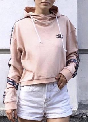 Худи umbro укороченное оригинал толстовка оверсайз с лампасами розовое {не adidas}7 фото