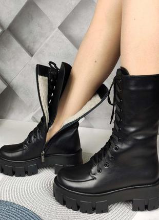 Зимние кожаные высокие ботинки на тракторной подошве код: 1367