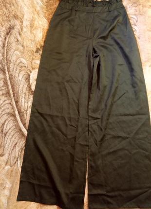 Boohoo широкие брюки палаццо темно зелёный цвет размер евро 44( uk16) высокая посадка
