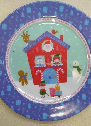 Пластиковое рождественское блюдо  santas workshop