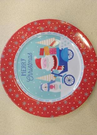 Пластиковое рождественское блюдо  merry christmas d 28 см