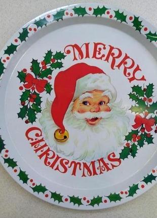 Металлический рождественский поднос merry christmas.