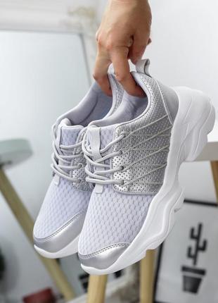 Женские лёгкие фиолетовые кроссовки сетка