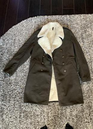Пальто zara man с искусственным мехом