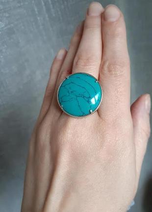 Серебряное кольцо с бирюзой сетчатой 19р