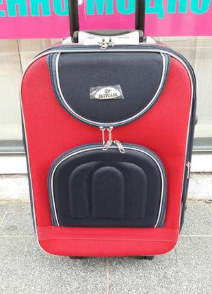 Средний красный тканевый чемодан дорожный середня валіза червона киев