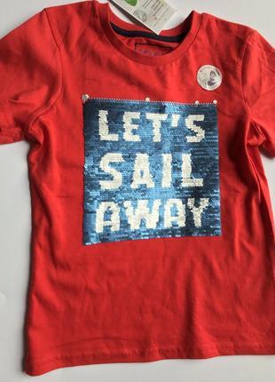 Акция. красная футболка с пайетками перевертышами c&a palomino
