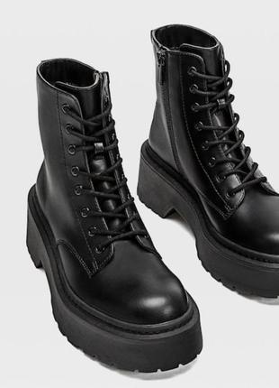 Черные грубые ботинки на шнуровке stradivarius