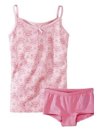 Комплект белья смурфики, майка и трусы  lupilu девочке 1-2, 2-4 года