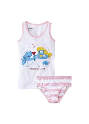 Комплект белья смурфики, майка и трусы lupilu девочке 1-2 года