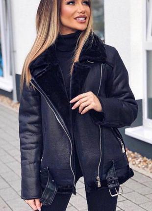 Стильная актуальная дубленка куртка тренд h&m тренд