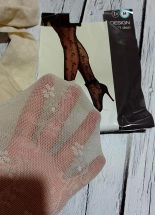 Колготки с рисунком узором молочного цвета колготы колготи yessica / розмір 3
