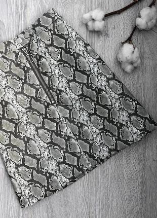 Стильная юбка в змеиный принт высокая талия/высокая посадка