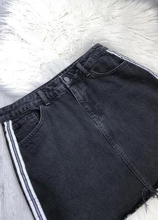 Джинсовая юбка с ломпасами высокая посадка/высокая талия