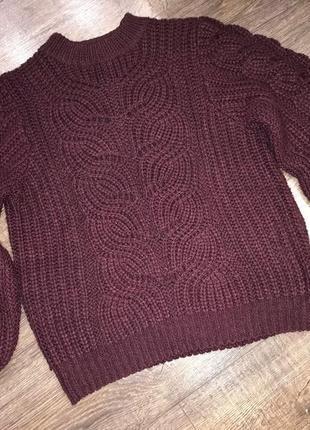 Бордовый свитер крупная вязка h&m