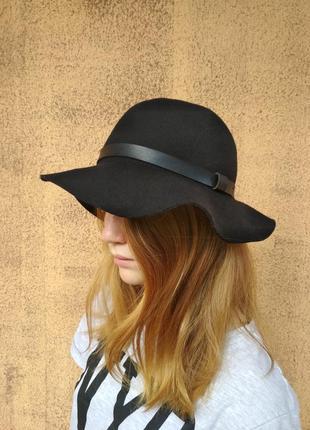 H&m шляпа осенняя, панама шерсть 100%, чёрная шляпка