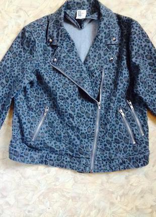 Джинсовая куртка-косуха леопардовый принт от h&m