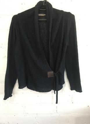 Вязаный укорочённый жакет, пиджак, кофта на завязках