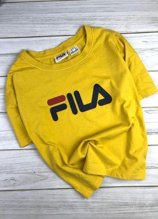 Укорочённая оверсайз футболка fila желтого цвета