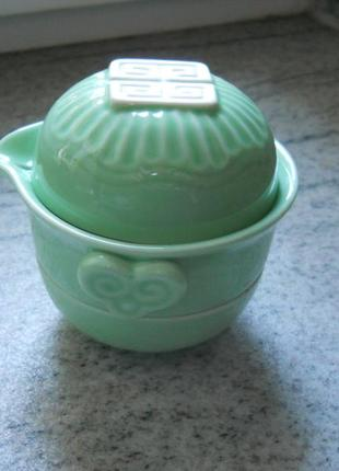 Для любителей чайной церемонии -гайвань, китайский чайный сервиз, три предмета