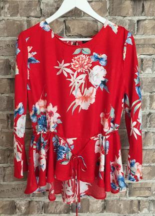 Віскозна блуза з рукавом в об'ємні квіти reserved,розмір л