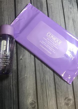 Набор двухфазная жидкость средство для снятия макияжа салфетки clinique take the day o