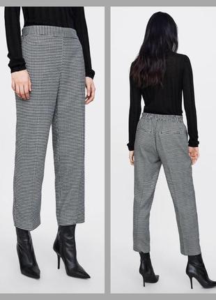 Класні укорочені нові брюки zara в гусіну лапку, розмір с-м, 🔥🔥🔥