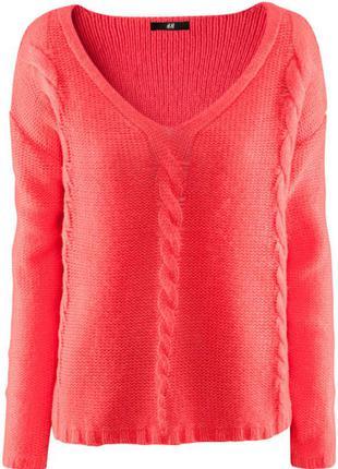 Коралловый свитер джемпер h&m