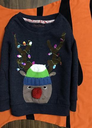 Новогодний свитшот с оленем на мальчика 1.5-2 года рост 92, сост нового, синий