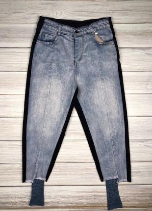 Стильные двусторонние джинсы с вельветом и чулками