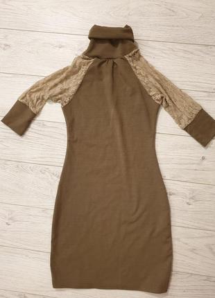 Платье коттон с гепюровыми рукавами, xs