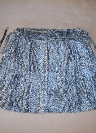 Красивая стильная бархатная мини юбка змеиный принт рептилия р. s