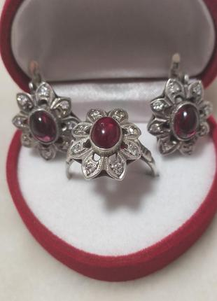 Серьги+кольцо,серебро,винтаж,советские,комплект,набор.