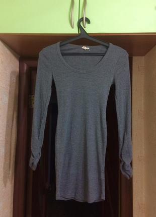 Платье серое в рубчик с длинным рукавом new look