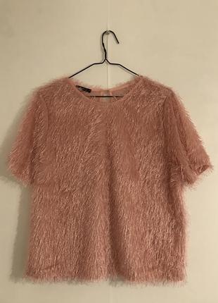 Розовая ворсистая футболка oodji