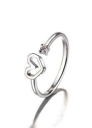 Кольцо с сердцем и камнем с покрытием серебра 925 / большая распродажа!