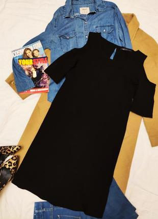 Marks spenser чёрное шифоновое платье с открытыми плечами лёгкое трапеция прямое