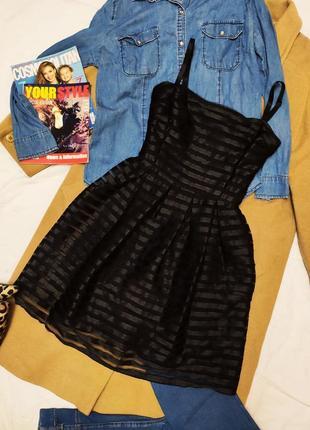 H&m платье чёрное на брительках сетка на подкладке полосатое
