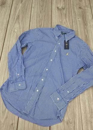 Стильная рубашка polo ralph lauren полосатая в полоску актуальная тренд