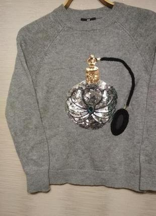 Теплый зимний свитер с рисунком пайетками h&m, 46-48р.