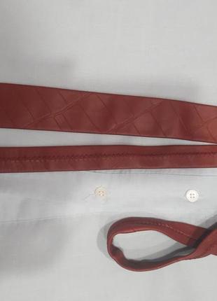 Кожаный галстук бордового цветв