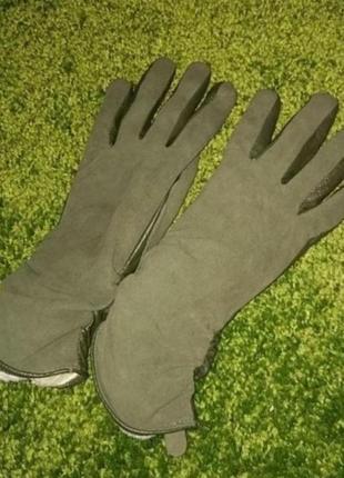 Перчатки зимние зеленые кожа+замш