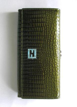 Большой кожаный лаковый кошелек хаки, 100% натуральная кожа, есть доставка бесплатн