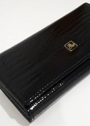 Большой кожаный лаковый кошелек dark,100% натуральная кожа, есть доставка бесплатно