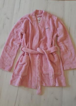 Оригинал victoria's secret! халат стильный плюшевый розовый pink халатик vs