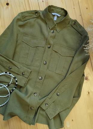 Рубашка хаки от h&m