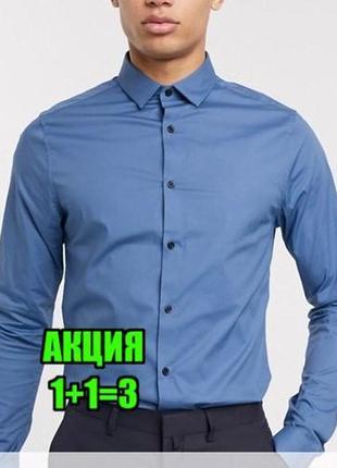😉1+1=3 приталенная синяя рубашка сорочка banana republic оригинал, размер 46 - 48